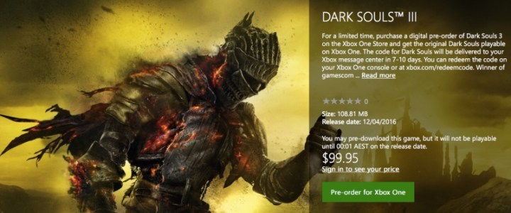 Dark Souls 3 pre-orders will come with free copies of Dark Souls, Microsoft says in this screenshot captured by Kotaku.