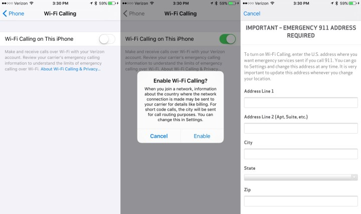 Set up Verizon WiFi calling on iPhone with your emergency address.