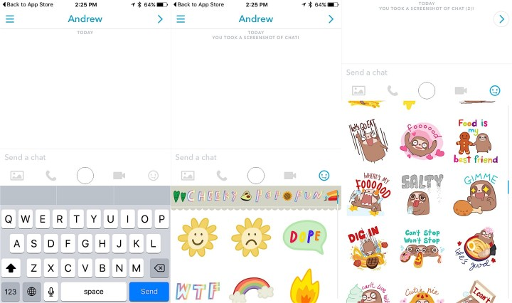 Check out the new Snapchat stickers in the latest update.