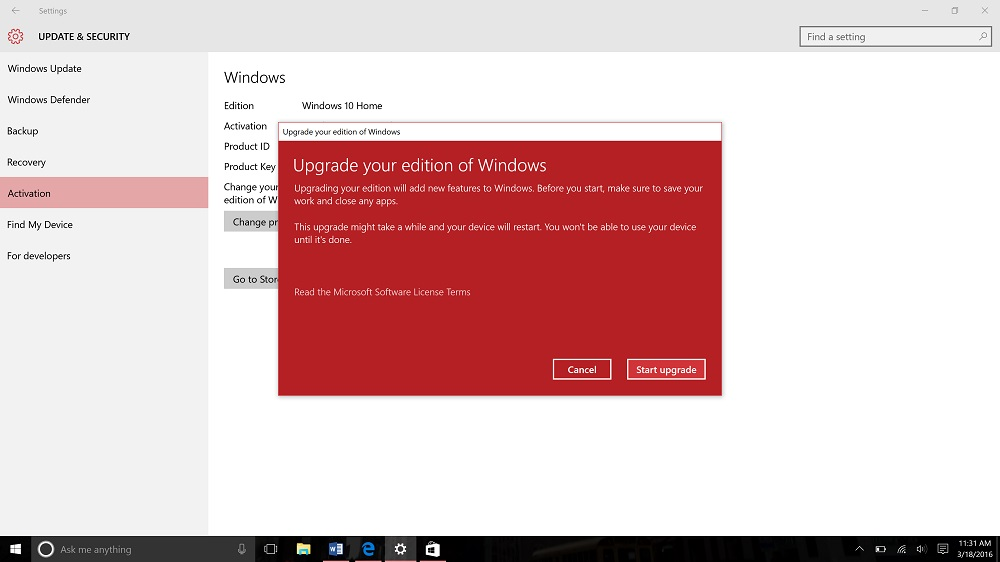 how to change from windows 10 home to windows 10 pro