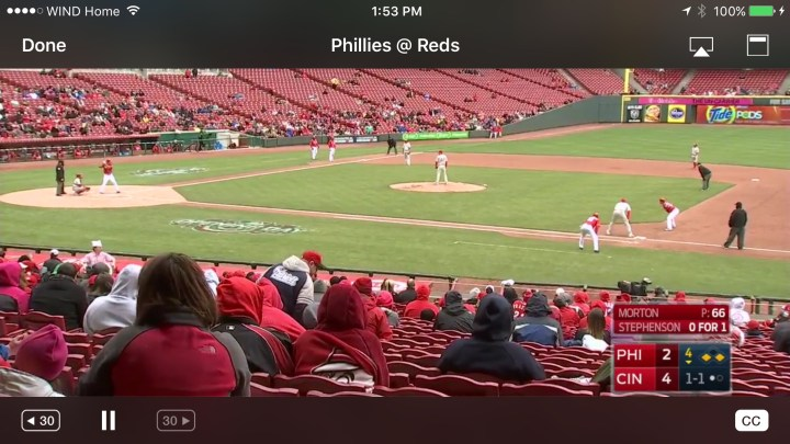 MLB TV on the iPhone At Bat app
