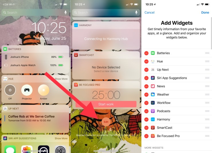 You can change the iPhone lock screen widgets.