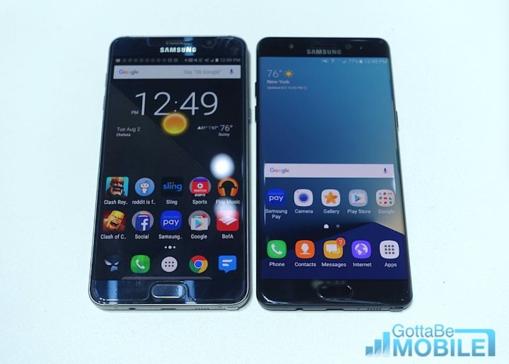 Note 5 (left) vs Note 7 (right)