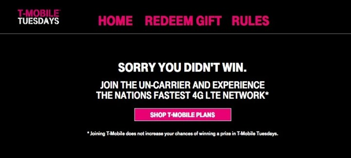 You can play for a chance at prizes even if you aren't a T-Mobile customer.