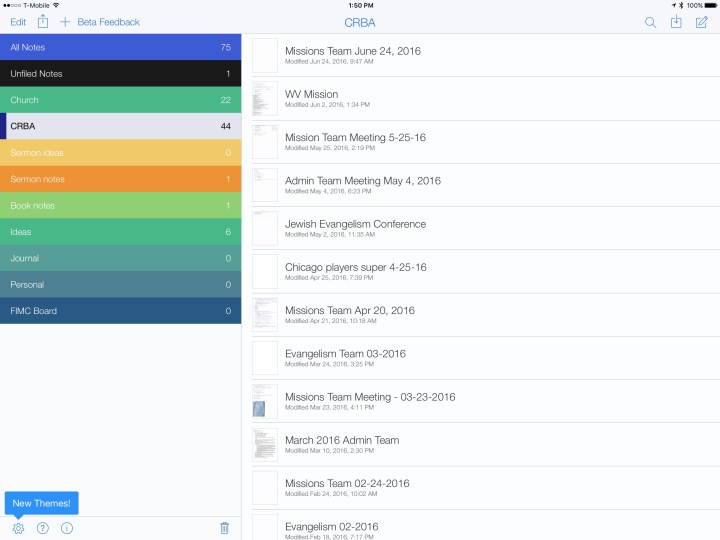 Notability on iPad folder layout