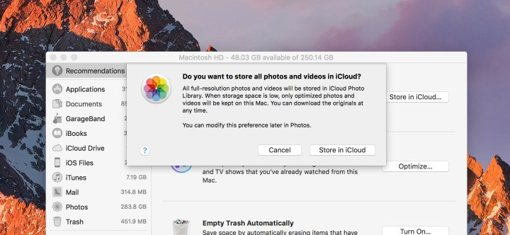 Store files and photos in iCloud to free up space on your Mac.