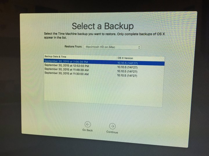 Choose a backup to restore that has OS X El Capitan on it.