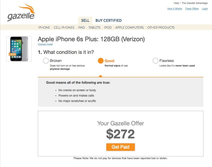 sell your old iphone on gazelle