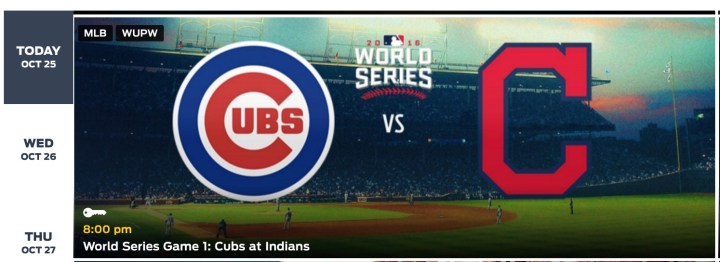 Watch the Cubs vs Indians live stream in Fox Sports Go.