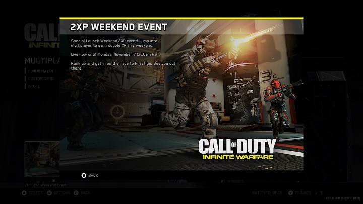 Look for Call of Duty: Infinite Warfare Double XP Weekends.