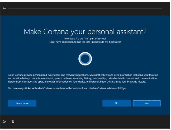 Windows 10 Cortana Setup