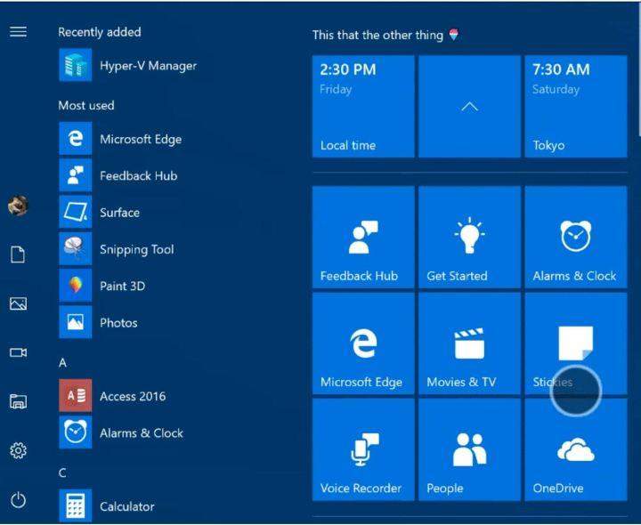 Windows 10 Creators Update Start Screen