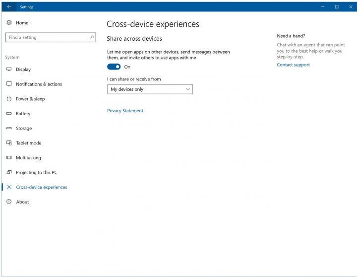 cross device expereinces windows 10