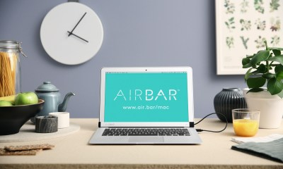 This is AirBar, an accessory that gives you a touchscreen Mac.