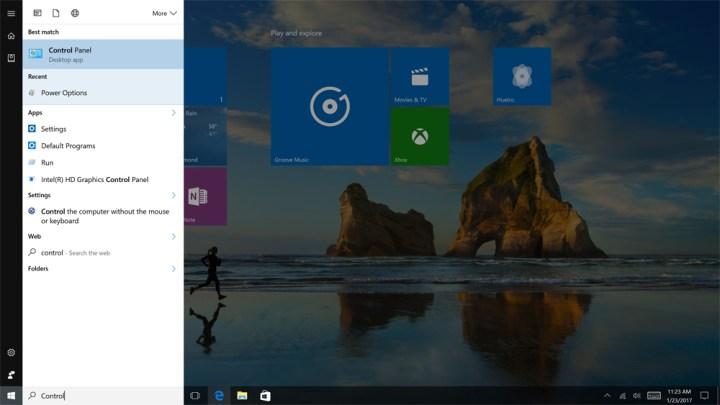 Control Panel in Windows 1005