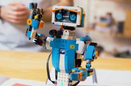 Lego Robot name Vernie, Blue and White Robot made of Legos