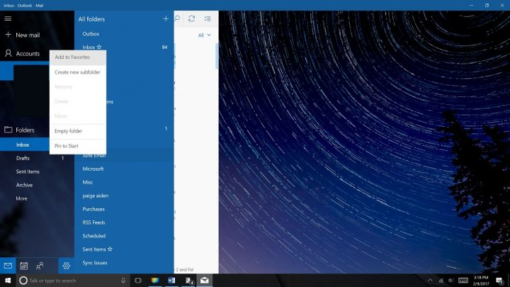 Outlook Mail in Windows 10 Problems