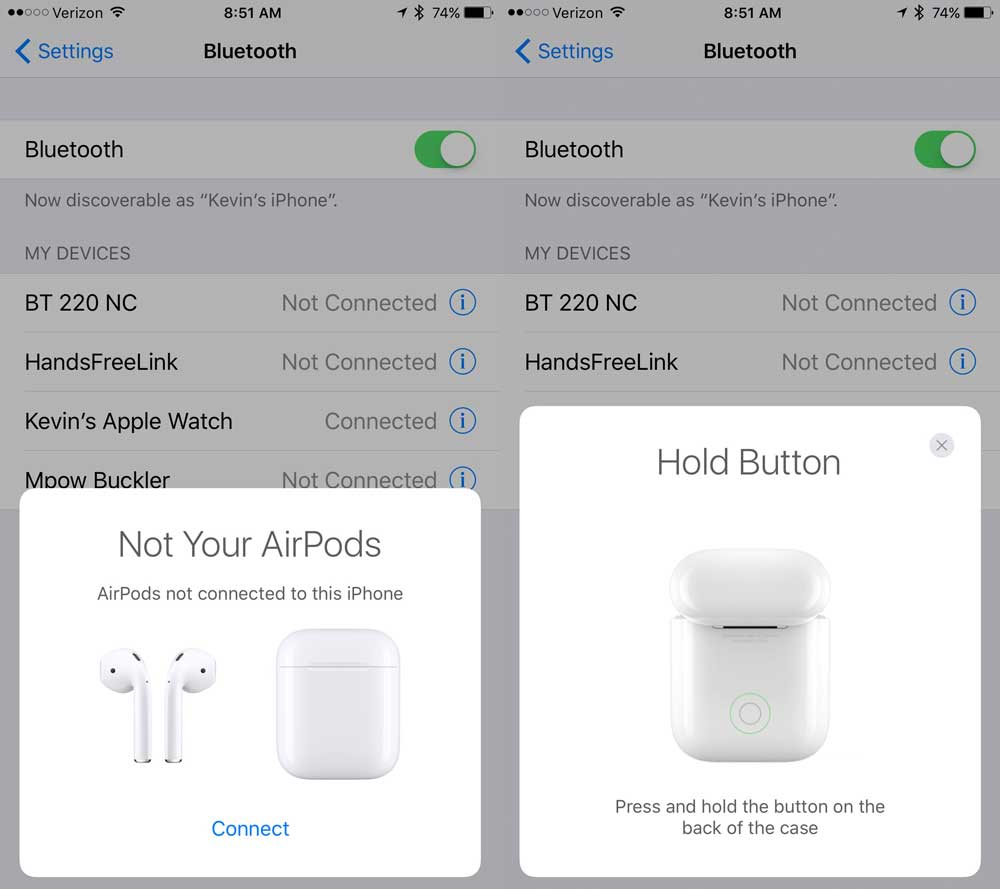 apple airpods connect and hold button dialog boxes