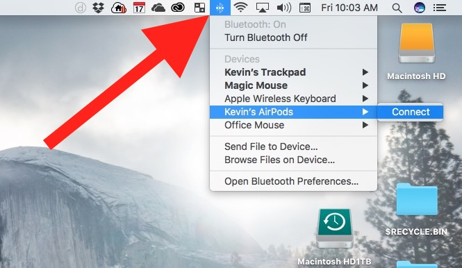 connect airpods to mac from bluetooth menu bar icon