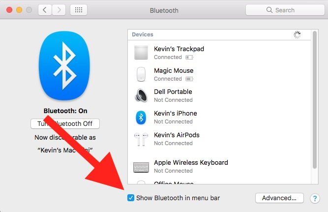show bluetooth in menu bar macos 10