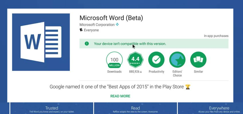 word incompatible with your device