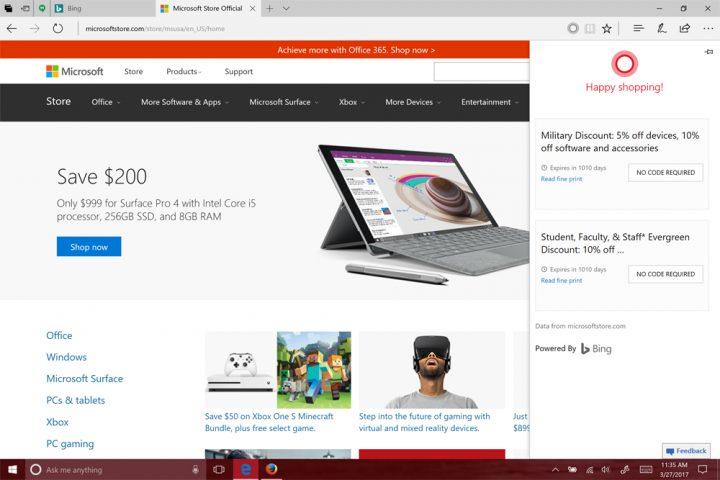 Cortana in Microsoft Edge.