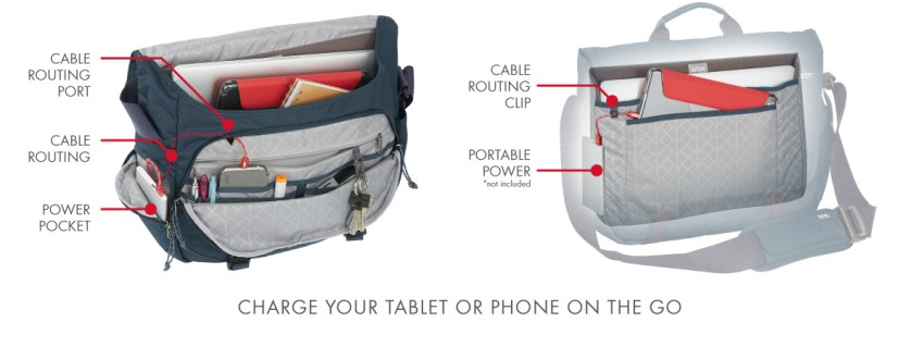 STM 15-inch radial messenger bag cabling for chargers