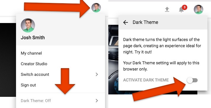 How to use YouTube Dark Mode.