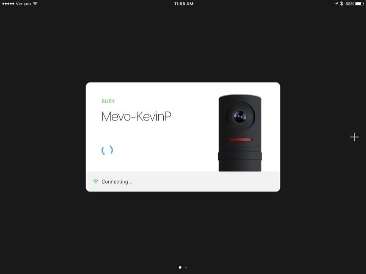 meevo camera app connection page