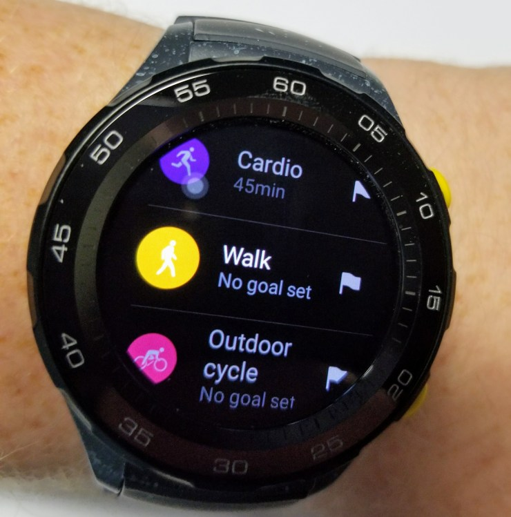 huawei watch 2 workout options