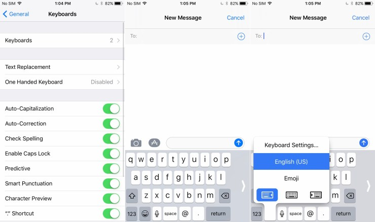 One Handed iPhone Keyboard