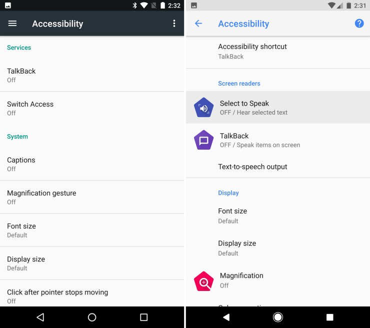 Accessibility: Select to Speak