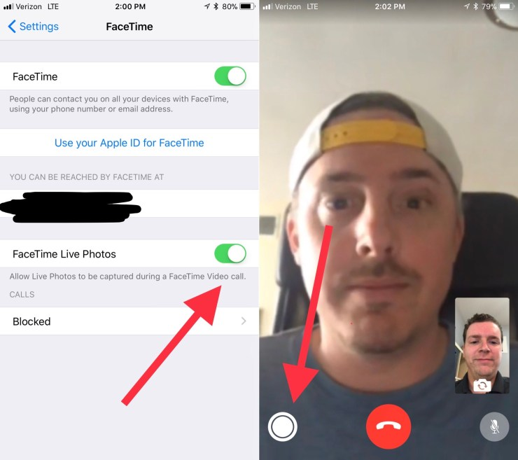 Take Live Photos of FaceTime Video