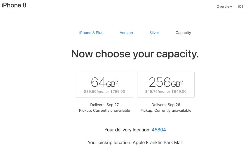 The iPhone 8 in store pickup options are closed for the iPhone 8 release day.