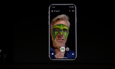 Craig Federighi demonstrates the upgraded Snapchat Lenses on the iPhone X.