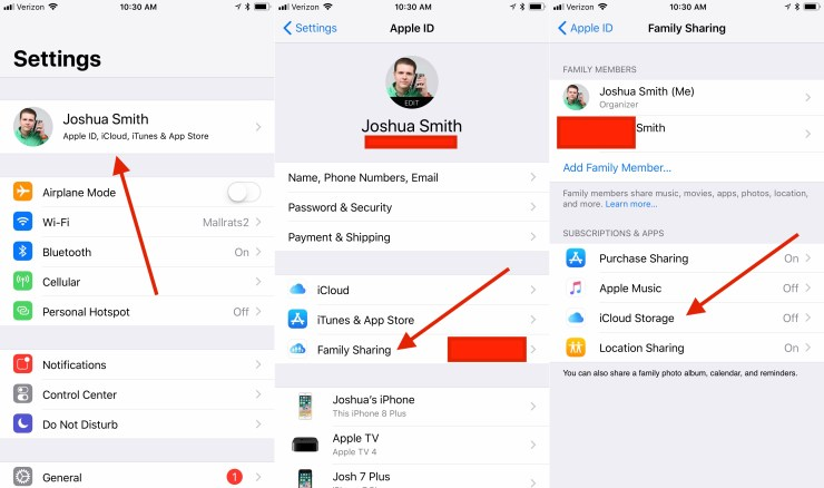 Share iCloud Storage with Family Sharing in iOS 11.