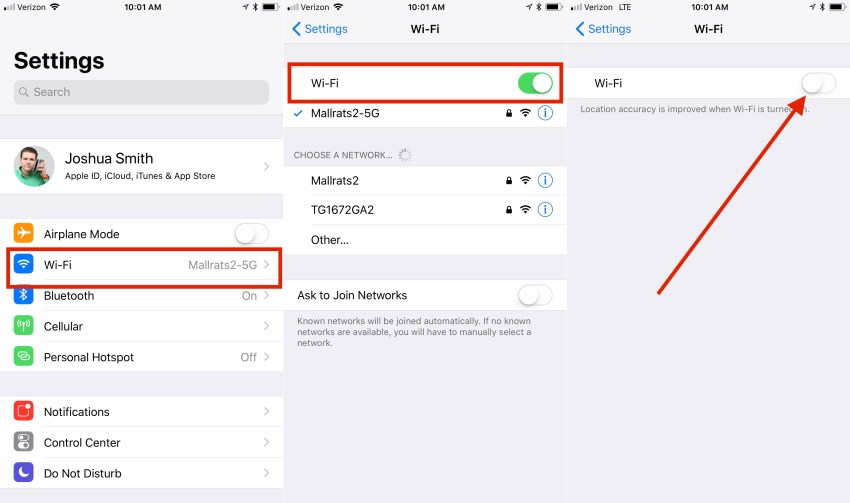 Where to turn WiFi off completely in iOS 11.