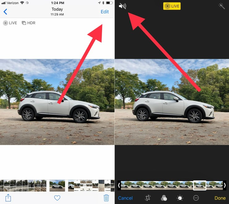 How to Turn off the sound on a Live Photo.