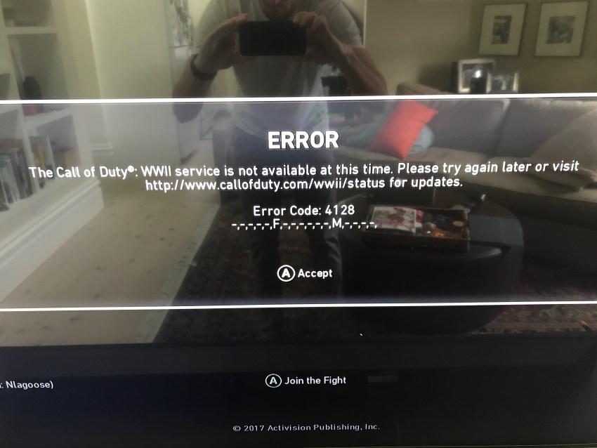 Yet another Call of Duty: WWII error 4128 stops gamers from playing online.