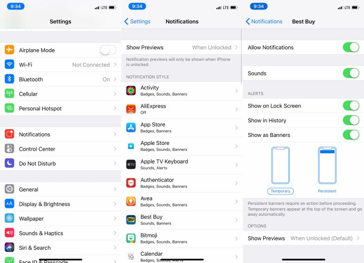 How to change iPhone notification settings.