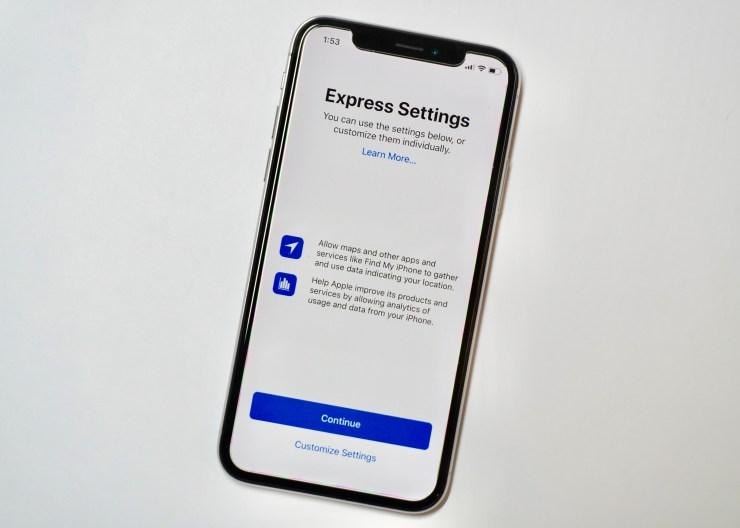 Choose express or custom iPhone X setup.
