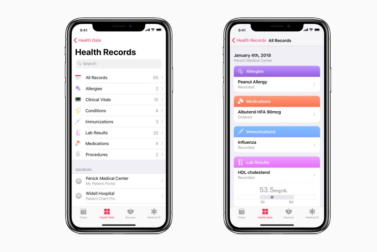 Health Records in iOS 11.3