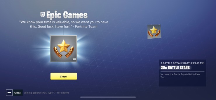 Claim your free Fortnite Battle Pass Stars.