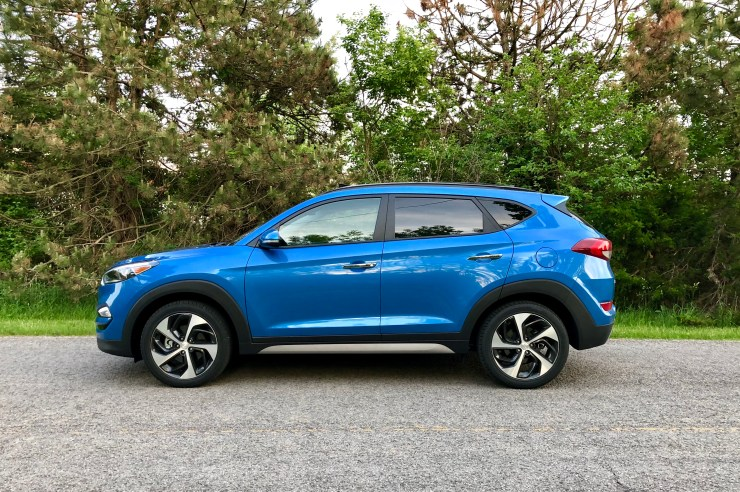 The Tuscon handles well. It's not as sporty as the Mazda CX-5, but it's capable and comfortable with enough get up and go when you need to merge into traffic.