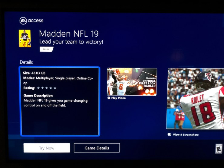Download the Madden 19 trial from the EA Access app on Xbox One or Origin Access on PC.