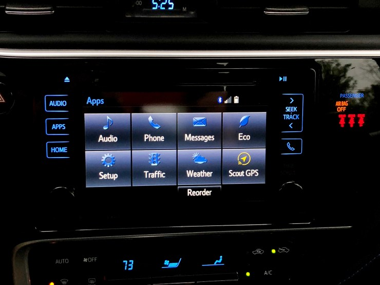 The Entune system is usable, but it's lacking Apple CarPlay and Android Auto.