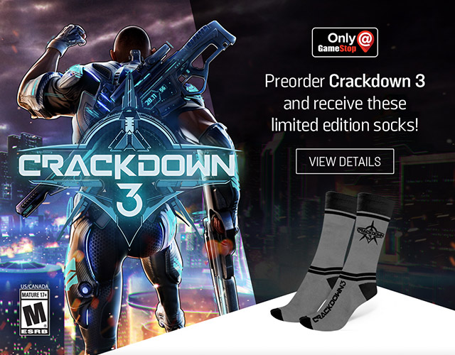Get free socks when you buy Crackdown 3 at GameStop.