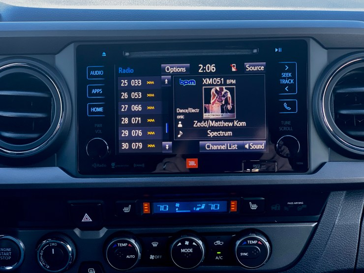 The touch screen is responsive, but there is no support for Apple CarPlay or Android Auto.