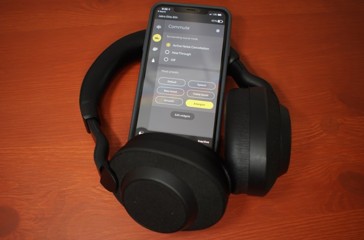 The Jabra Elite 85h noise canceling headphones are simply amazing.