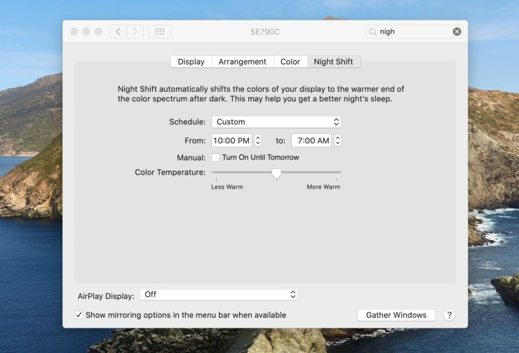 Configure a Night Shift schedule for your MacBook Pro.